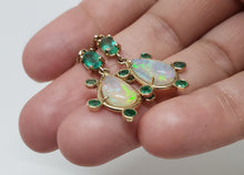 Load image into Gallery viewer, Opal & Emerald Earrings 14k Gold