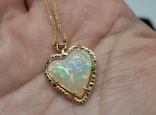 Load image into Gallery viewer, Opal Heart Pendant 14k Gold