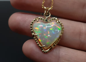 Opal Heart Pendant 14k Gold Necklace