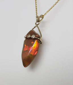 Brown Carved Opal Pendant 14k Gold