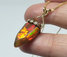 Load image into Gallery viewer, Brown Carved Opal Pendant 14k Gold