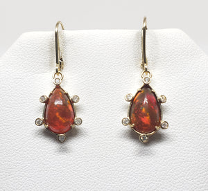 Brown Opal Diamond Gold Earrings