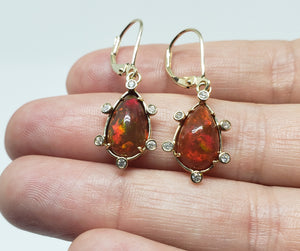 Fire Opal & Diamond Earrings 14k Gold