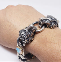 Load image into Gallery viewer, Lion Bracelet Opals & Diamond Silver & Gold