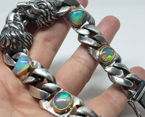 Lion Bracelet Opals & Diamond Silver & Gold