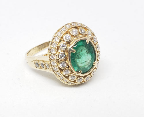 Emerald & Diamond Ring 14 Gold -  Size 5.5