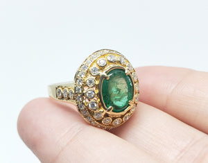 Emerald & Diamond Ring 14 Gold -  Size 5.75