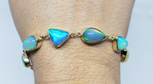 Colorful 6 Opals 14k Gold  Bracelet