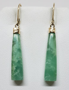 Green Chrysoprase  14k Gold Earrings