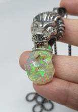 Load image into Gallery viewer, Lion Pendant Carved Opal Sterling Silver Necklace