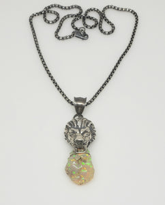 Lion Pendant Carved Opal Sterling Silver Necklace