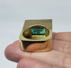 Emerald Ring Solid 18k Gold -  Size 8.5