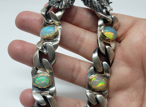 Dragon Bracelet Opals & Ruby Gemstones Silver & Gold