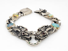 Load image into Gallery viewer, Dragon Bracelet Opals & Ruby Gemstones Silver & Gold