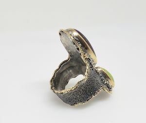 Fire pal & Diamond Ring Silver & 14k Gold