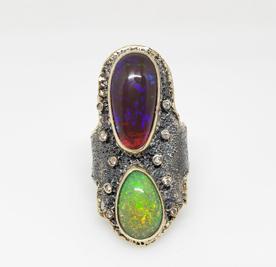 Opal Diamond Silver Ring