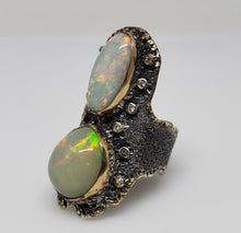 Load image into Gallery viewer, Opal & Diamond Ring Silver & 14k Gold