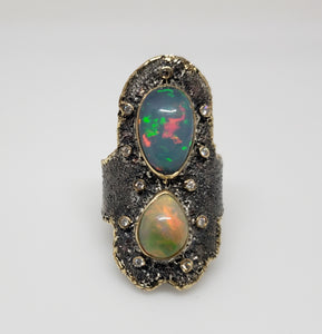 Opal & Diamond Ring Silver & 14k Gold