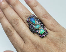 Load image into Gallery viewer, Opal & Ruby Ring Silver & 14k Gold