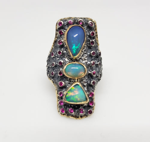 Opal & Ruby Ring Silver & 14k Gold