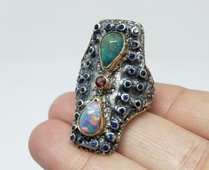 Opal & Sapphire Ring Silver & 14k Gold