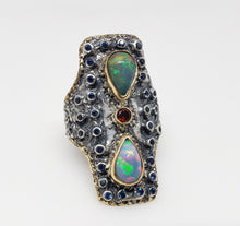Load image into Gallery viewer, Opal & Sapphire Ring Silver & 14k Gold
