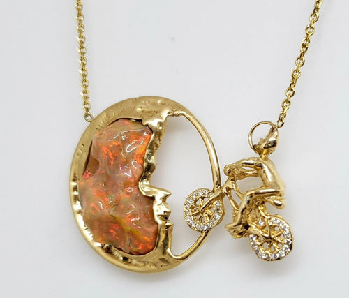 Moon Bicycle Opal Gold Pendant Necklace