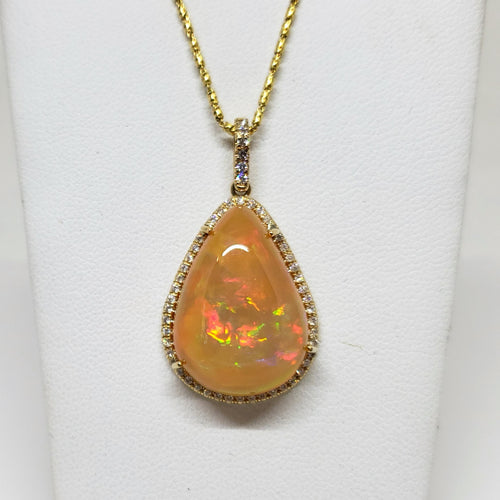 Orange Opal Diamond Gold Pendant