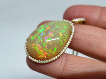 Load image into Gallery viewer, Large Natural Opal & Diamond Pendant 14k Gold