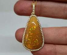 Load image into Gallery viewer, Brown Opal & Diamond Pendant 14k Gold