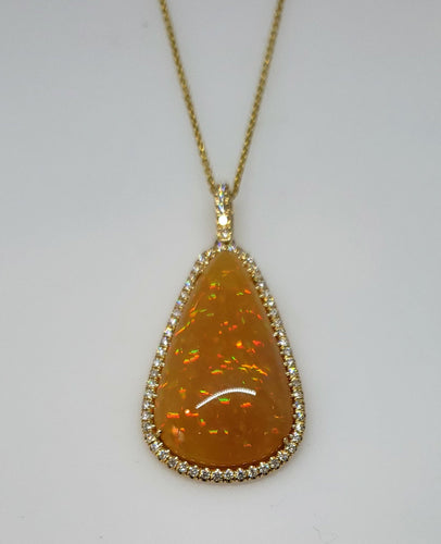 Brown Opal & Diamond Pendant 14k Gold