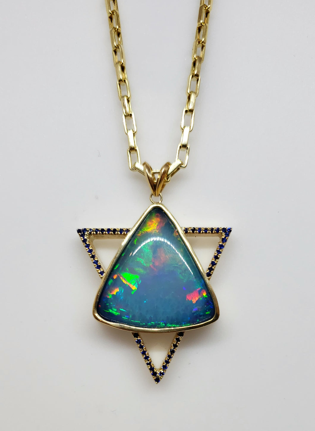 Opal Sapphire Star of David Pendant Necklace