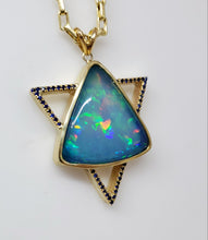 Load image into Gallery viewer, Opal & Sapphire Star of David Pendant