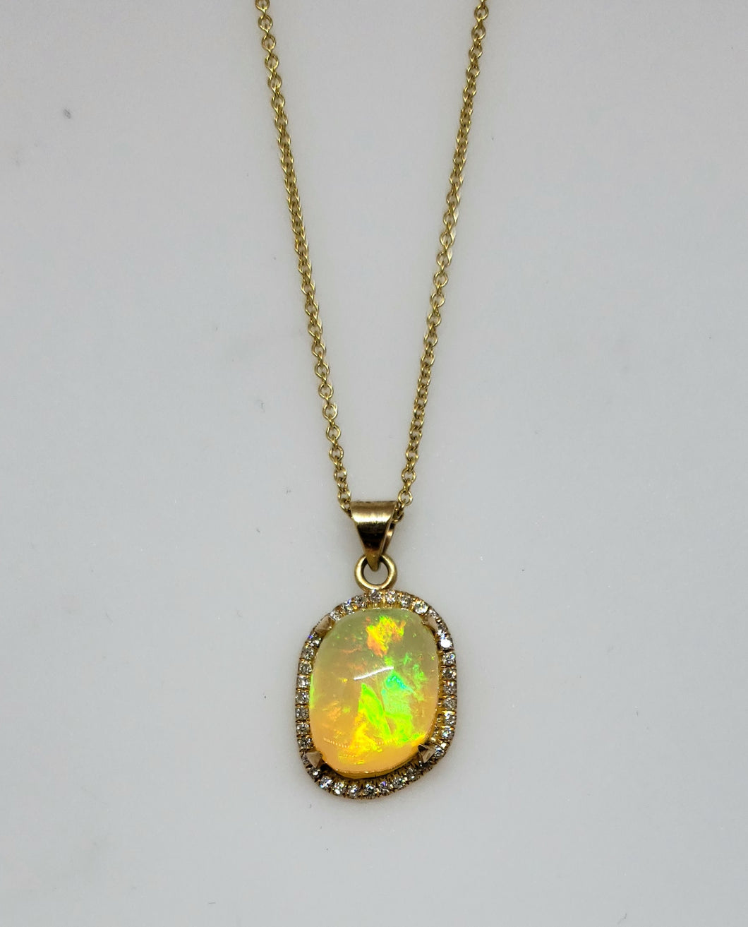 Opal Diamond Pendant Necklace