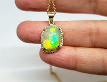 Load image into Gallery viewer, Opal & Diamond Pendant