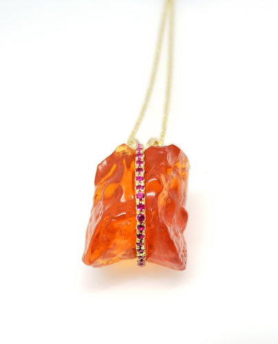 Orange Fire Opal & Ruby Pendant #102
