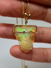 Load image into Gallery viewer, Carved Opal & Diamond Pendant #103