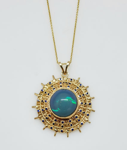 Blue Opal Gold Pendant