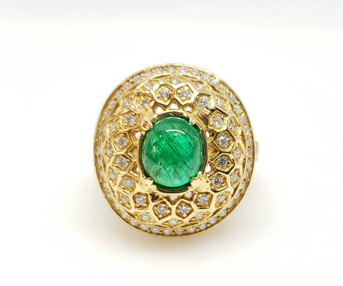 Emerald & Diamond Ring 14 Gold -  Size 6.5 #107