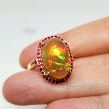 Load image into Gallery viewer, Opal & Ruby Ring 14k Gold #109