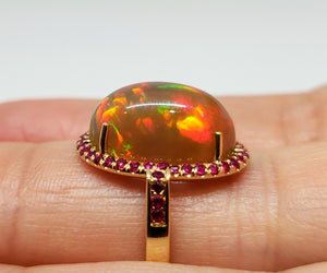 Opal & Ruby Ring 14k Gold #109