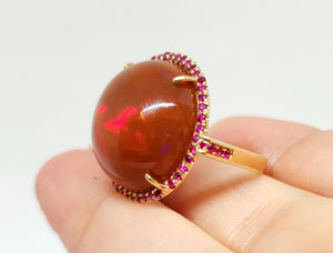 Huge Brown Red Opal & Ruby Ring 14k Gold #110