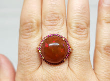 Load image into Gallery viewer, Huge Brown Red Opal & Ruby Ring 14k Gold #110