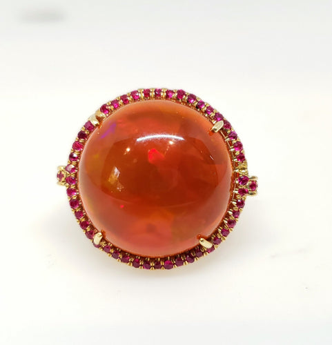 Red Opal Ruby Gold Ring