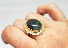 Load image into Gallery viewer, Natural Black Opal & Diamond Ring 14k Gold #111