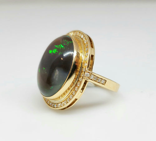 Natural Black Opal & Diamond Ring 14k Gold #111