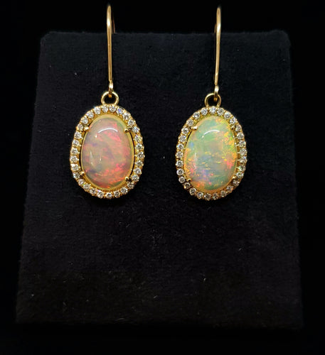 Opal & Diamond Earrings 14k Gold #112