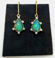 Load image into Gallery viewer, Gold Opal Diamond Earrings