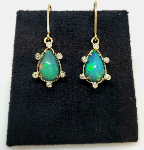 Blue Opal & Diamond Earrings 14k Gold #113