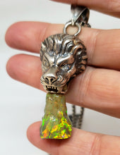 Load image into Gallery viewer, Lion Opal Pendant Sterling Silver Necklace #118